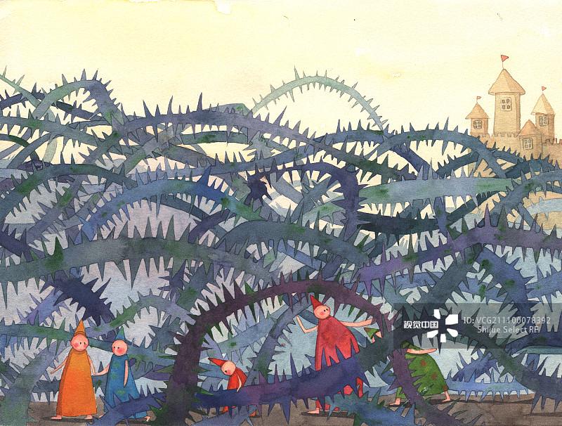 插画 手绘 勇士 勇气 睡美人 水彩画 少量人群 中国图片