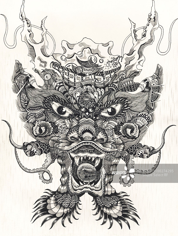 样 龙 插画 手绘 中国 图腾 龙年 东方 古老的 建筑 华丽的 复古图片