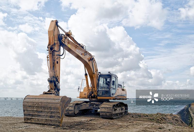 沙砾 铲车 建筑施工机器 天空 无人 一把 机件 设备用品 荷兰 泥土 铲子