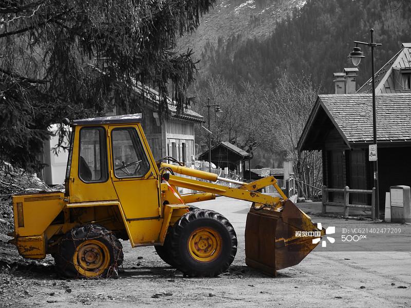 铲子 铲车 制造机器 挖掘 装货 工业 路 沙砾 一把 卡车 法国 泥土 采矿业