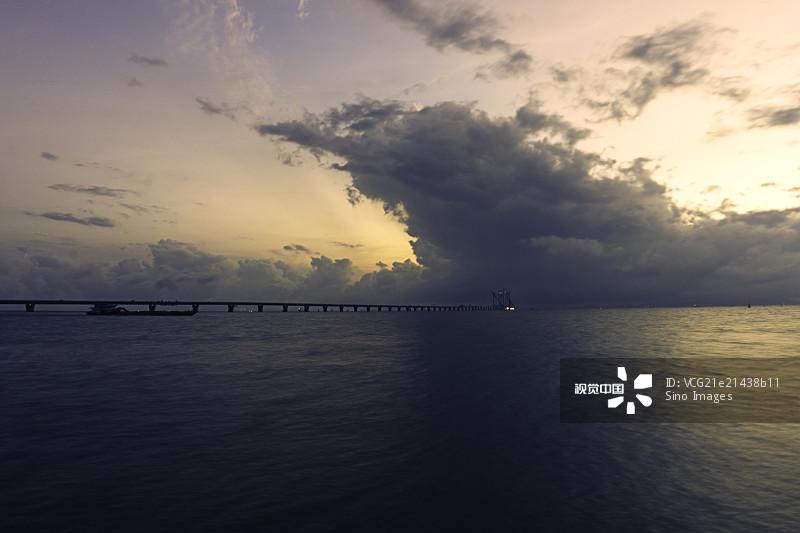 黄昏 吊桥 港珠澳大桥 颜色 云 桥 中国
