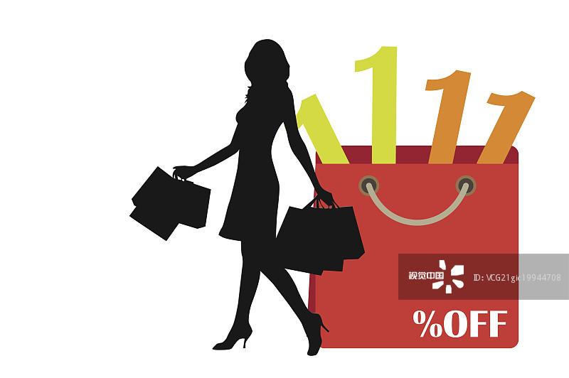 图画法 女性 人物 动作 数码合成 购物 连衣裙 鞋子 步行 户外 白色背景