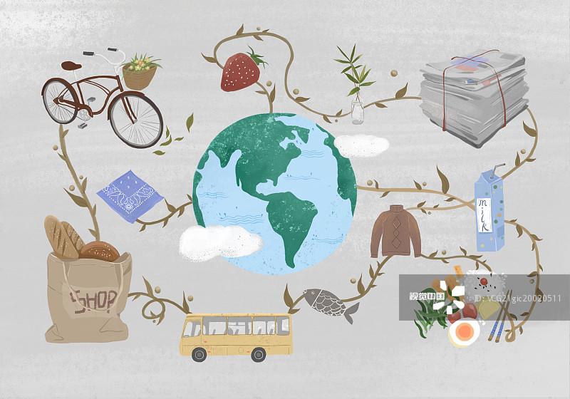 清新 自行车 手绘 绘画插图图片