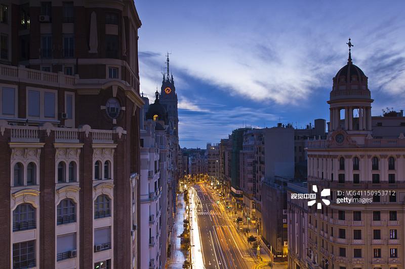 西班牙 照亮 格兰大道 圆顶建筑 旅行 黎明