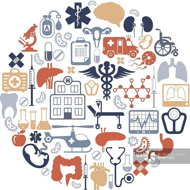医疗标志-胃 脉搏图 肝脏 生理学 绘画插图 肠道 脑部 网络表情 收集 腹图片