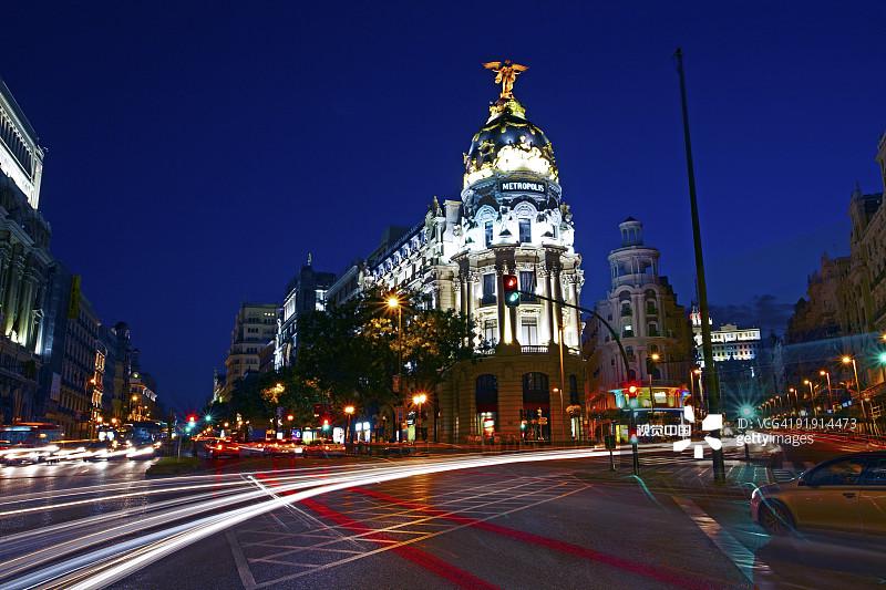 城市游 度假 格兰大道 旅行 前灯 圆顶建筑 夜晚 马德里省 都市风景
