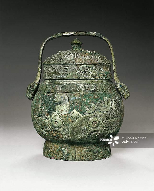 青铜 美术工艺 彩色背景 装饰 商朝 历史 远古的 古代 一个物体 花瓶 图片
