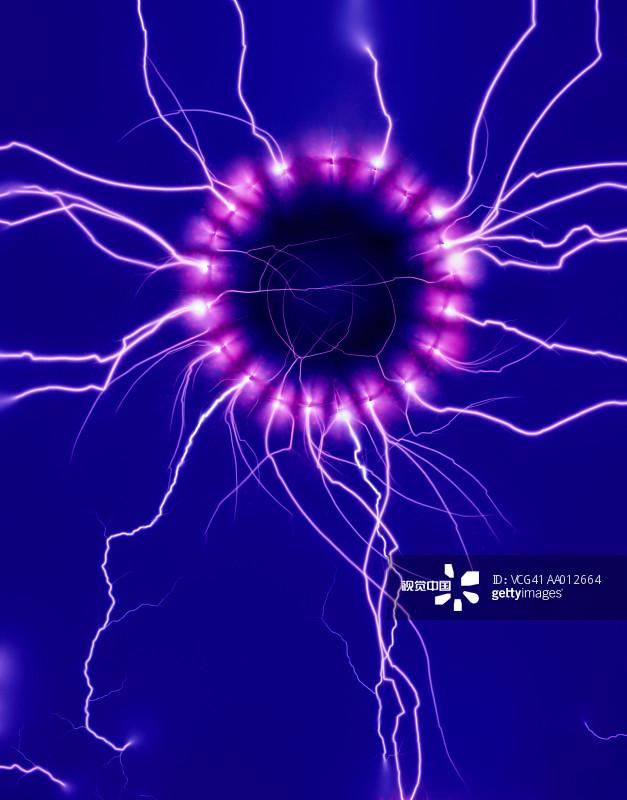 无人 蓝色 电流 电 室内 紫色 能源 圆形 色彩鲜艳图片