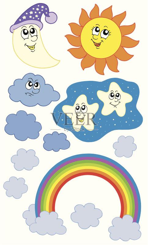 星形 多云 卡通 收集 明亮 彩虹 天空 气象学 太阳 帽子 自然 白昼 云 预测
