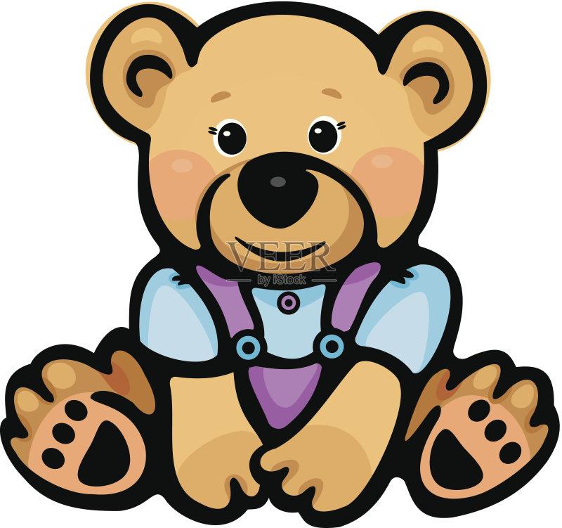 的 绘画插图 卡通 小的 幼小动物 矢量 坐 泰迪熊 熊 乐趣 性格 动物