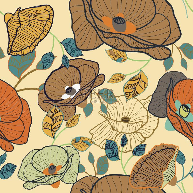 植物 式样 画画 花纹 装饰 华丽的 印刷 背景 现代 自然美 时尚 绘画插