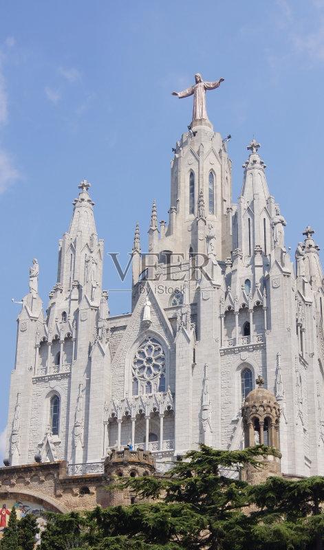 加泰隆尼亚 西班牙 教堂 塔 神 天空 蓝色 夏天 耶稣基督 巴塞罗那 尖