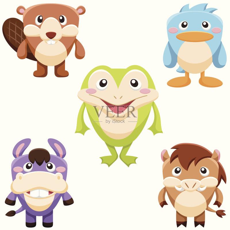 水獭 驴子 卡通 收集 符号 白色背景 儿童 野生动物 动物群 公猪 微笑 鸟
