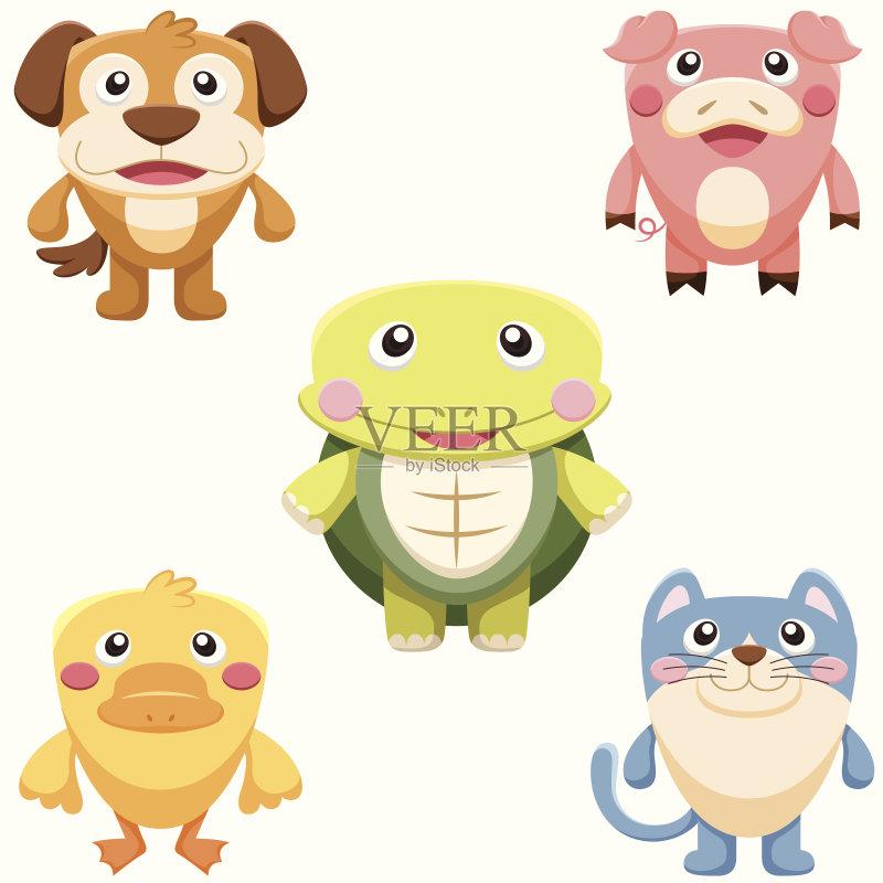 卡通 收集 符号 白色背景 鸭子 儿童 野生动物 动物群 龟 微笑 标签 小狗