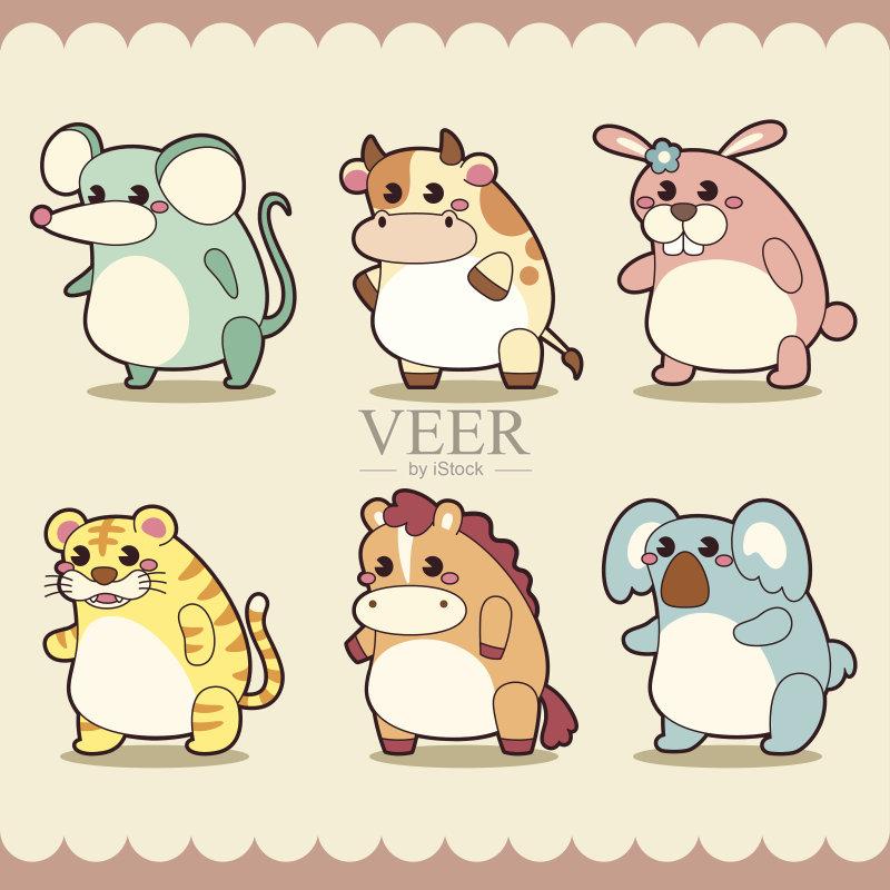 物群 鼠 马 剪贴画 微笑 标签 玩具 乳牛 可爱的 绘画插图 幼小动物 牲