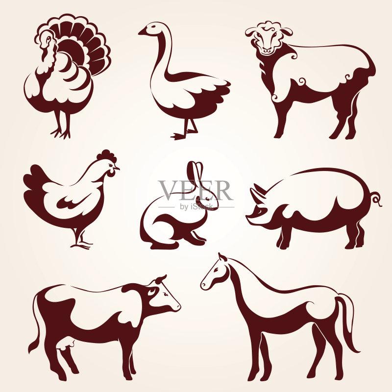 收集 符号 形状 野兔 家牛 肉 装饰 农业 母牛 公猪 计算机制图 马 鸟类