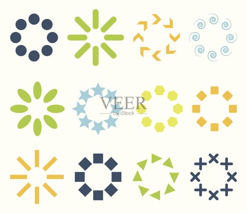 植物 符号 形状 标志 纹身 夏天 无人 雏菊 华丽的 矢量 圆形