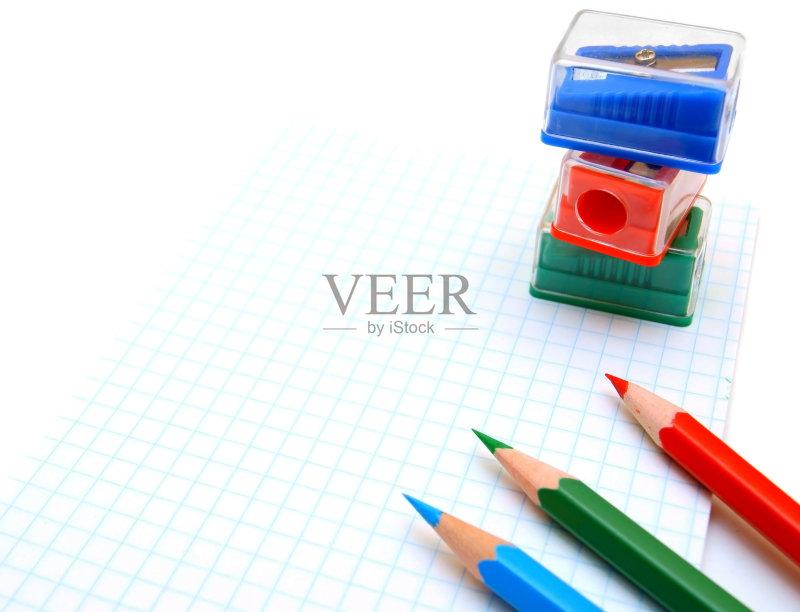 卷笔刀 木制 铅笔 削尖 红色 设备用品 组物体 蓝色 黄色