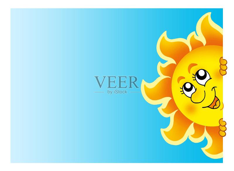 设计 欢乐 卡通 晴朗 明亮 看 概念和主题 光 式样 隐藏 天空 气象学 太阳