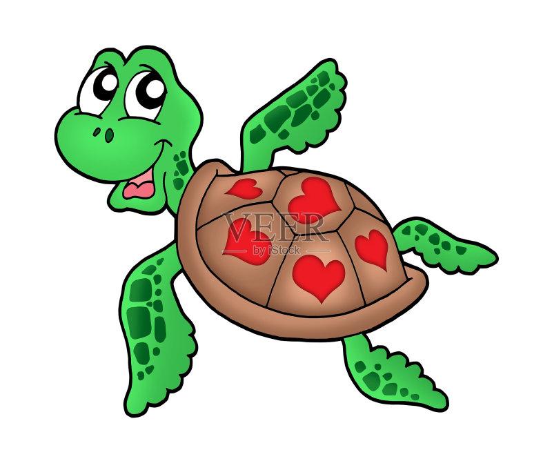 节日 设计 卡通 心型 概念和主题 胸腔 自然 水下 贝壳 水生动植物 游泳