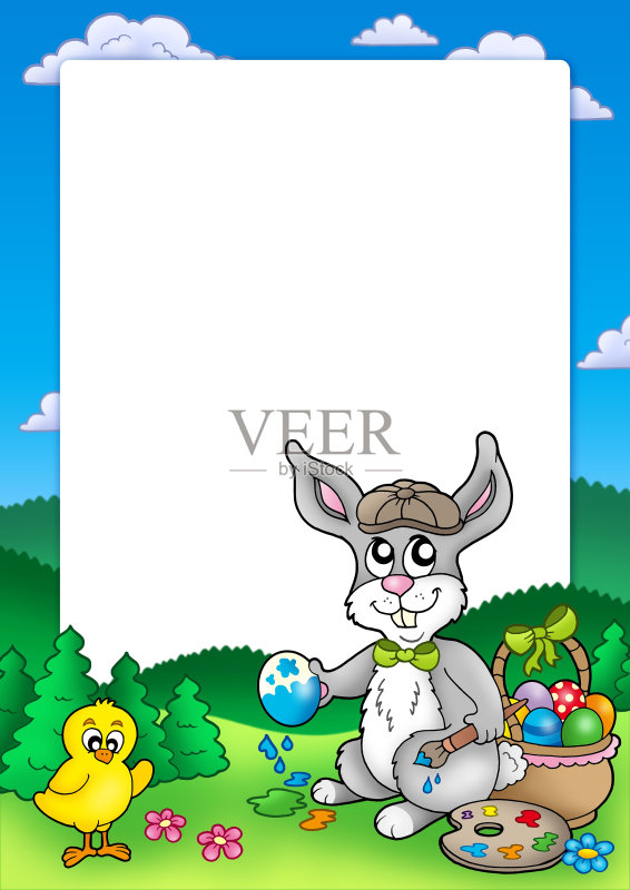 节日 设计 卡通 看 复活节彩蛋 作画 动物耳朵 情感 装饰 复活节 动物