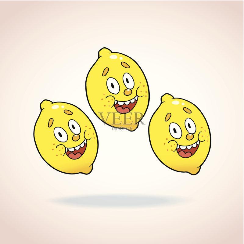 的 绘画插图 卡通 吉祥物 白色背景 乐趣 柠檬 快乐 食品 人体 清新 矢