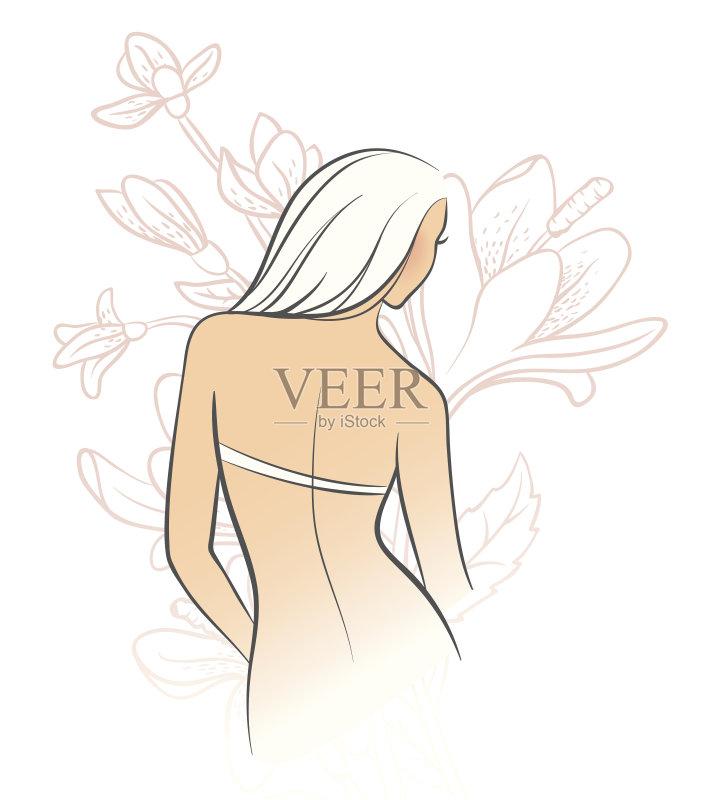 铅笔画 仅一个女人 人 高雅 白色 女人 裸体主义者 想法 叶子 头发 女性 图片