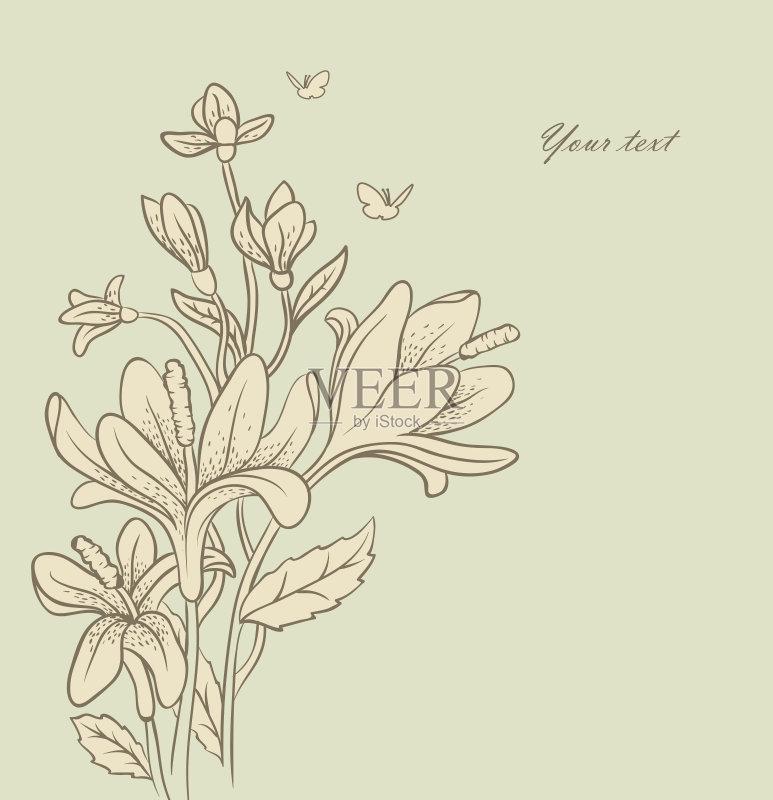 铅笔画 设计 文化 生长 式样 仅一朵花 自然 花纹 礼物 装饰 部分 背景 图片