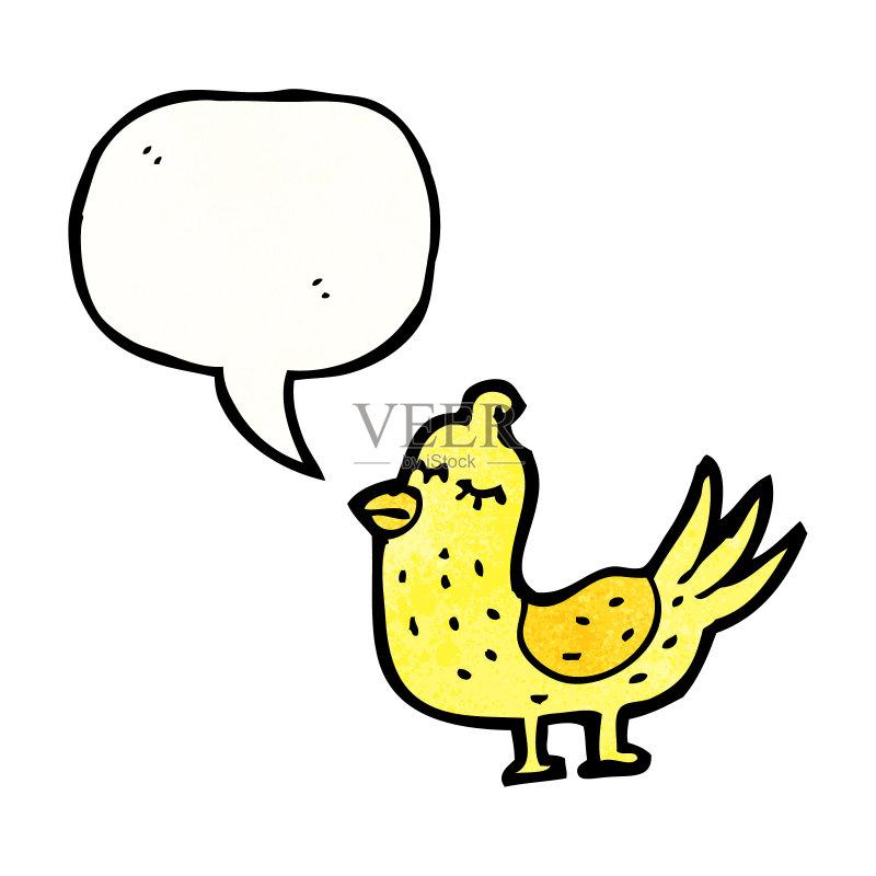 对话气泡框 绘画插图 乱画 奇异的 剪贴画 鸟类 画画