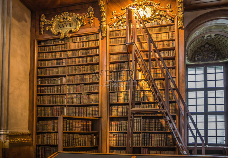 老的 维也纳 图书馆 国内著名景点 艺术 都市风景 室内 书 书架 旅行