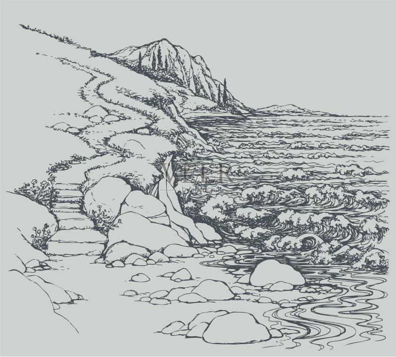 草图-小路 铅笔画 泻湖 山 轮廓 风 强风 海景 暴风雨 巨石 自然 鹅卵石