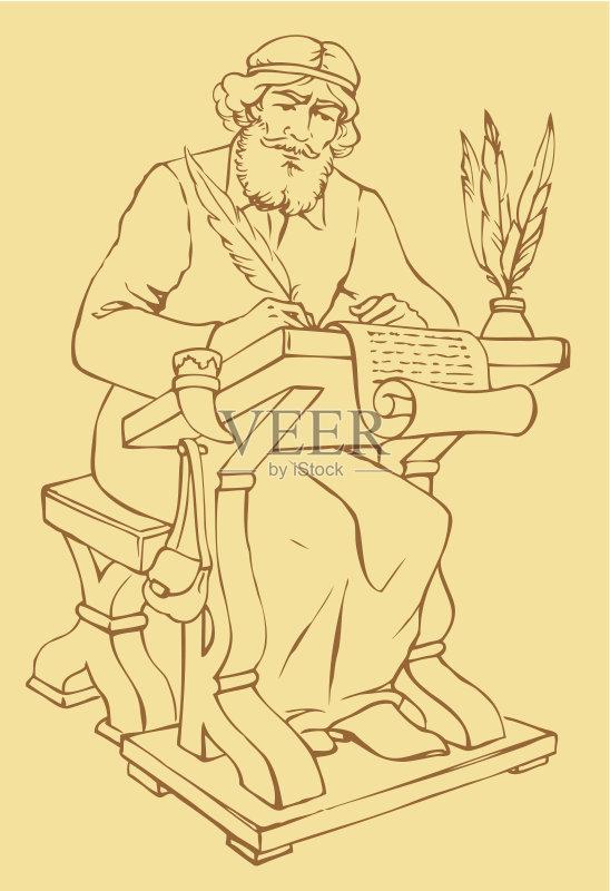 铅笔画 圣经 档案文件 文档 成年学生 档案 教师 律法 羊皮纸 文学 老年图片