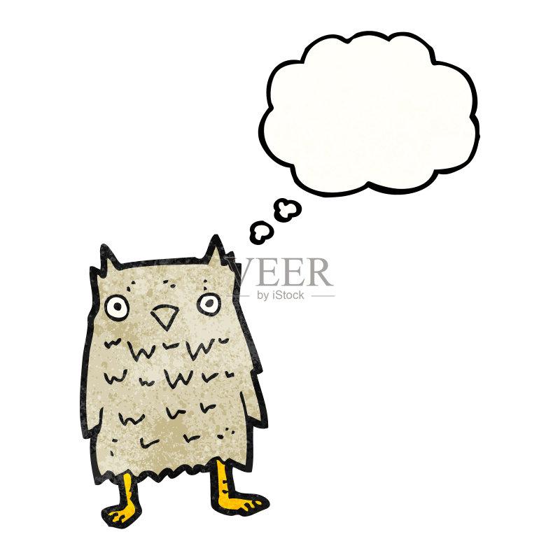 思考 可爱的 绘画插图 乱画 奇异的 猫头鹰 剪贴画 思想气泡框 鸟类