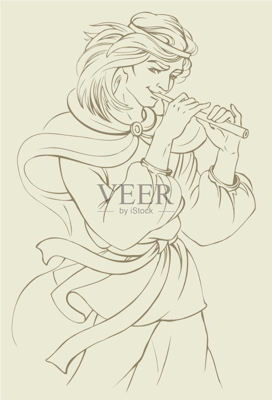 铅笔画 人 短笛 风 双簧管 手 横笛 头发 表演者 音乐 民间音乐 乐器 计算图片