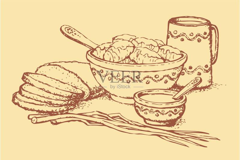 碗 铅笔画 文化 乡村风格 膳食 乌克兰文化 吃 砂锅 切块 卷起 食物状态