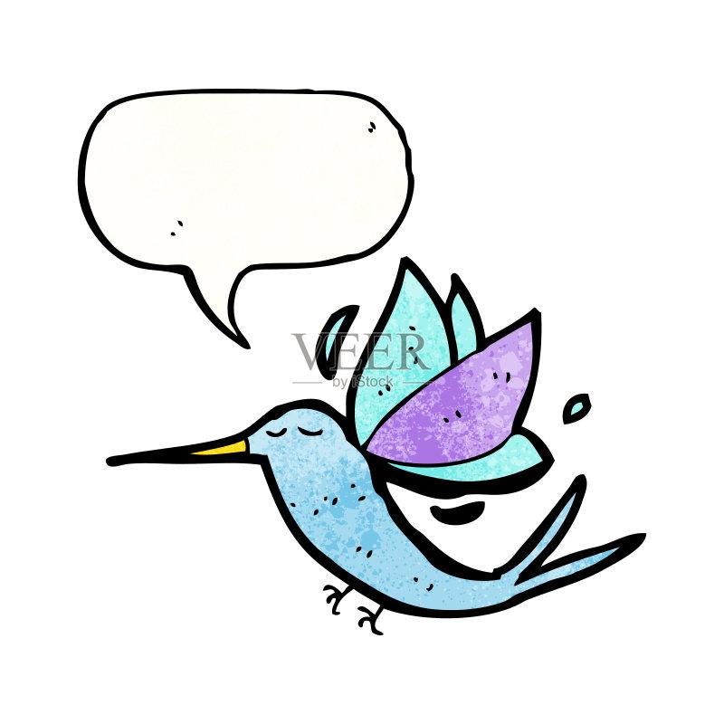 糙的 可爱的 绘画插图 对话气泡框 动物 画画 快乐 乱画 奇异的 蜂鸟