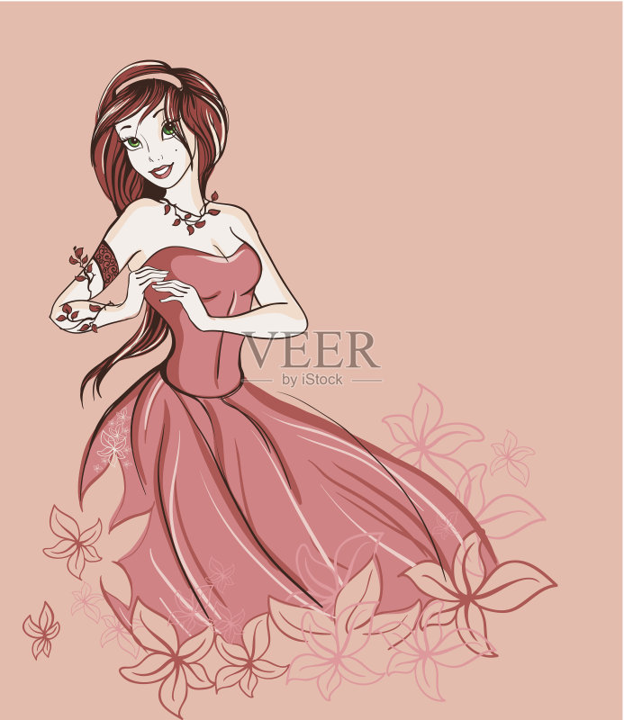 铅笔画 仅一个女人 人 可爱的 高雅 女人 性感 绘画插图 美 一个人 魅力 图片