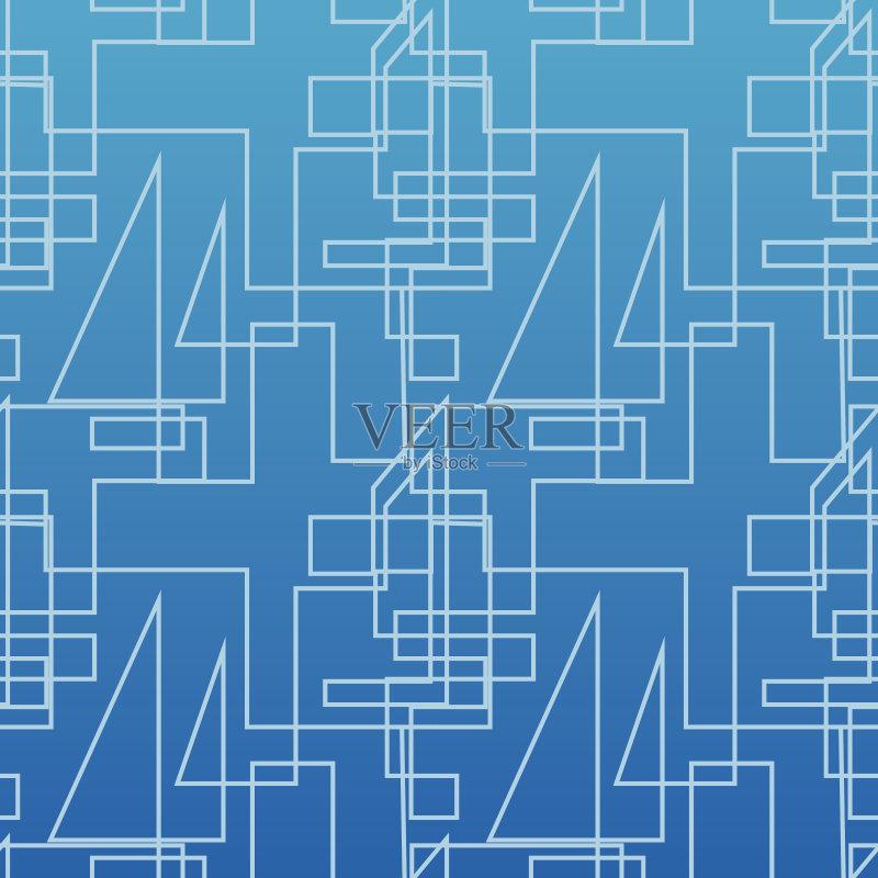 蓝图 绘画插图 式样 形状 纺织品 蓝色 无人 背景幕 装饰 华丽的 几何形