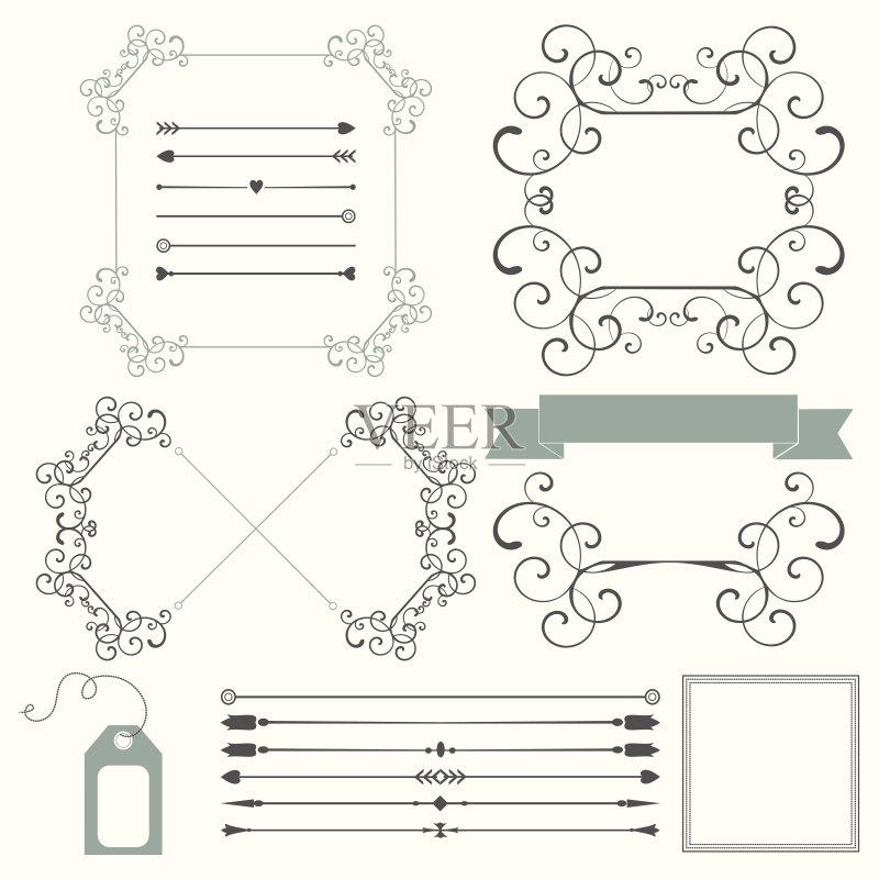 彩柔和 缎带 书法 请柬 灰色 中心装饰品 设计元素 无人 古典式 花 书 图片
