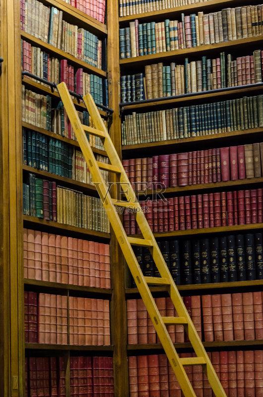 历史 古老的 图书馆 文学 无人 教育 书 书架 叠 褐色 堆 架子 梯子