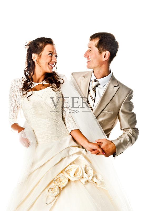 微笑 背景 新娘 时尚 可爱的 美 套装 影棚拍摄 魅力 婚姻 快乐 爱 人体 图片