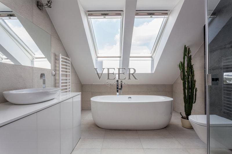 浴盆 室内 厕所 镜子 时尚 房地产 沉没 华贵 住宅房间 灰色 居家装饰 图片