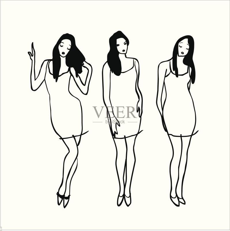时装表演会 草图 弯曲 时尚界新面孔 矢量 深情的