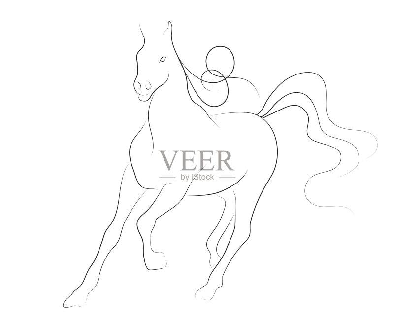 铅笔画 潦草 高雅 轮廓线画 绘画插图 笔触 线条画 线条 鬃毛 动物 草图 图片