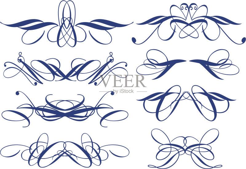 分割 缎带 书法 请柬 美术工艺 溅 设计元素 艺术 古典式 花 复古风格 图片