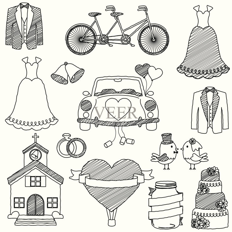 铅笔画 婚礼 双人自行车 轮廓 心型 气球 蛋糕 仅一朵花 响亮的 新郎 不