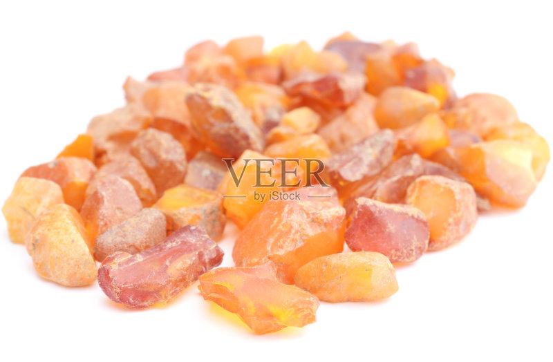 矿物质 宝石 橙色 古老的 白色背景 化石 自然 珠宝 黄色 无人 琥珀 财富