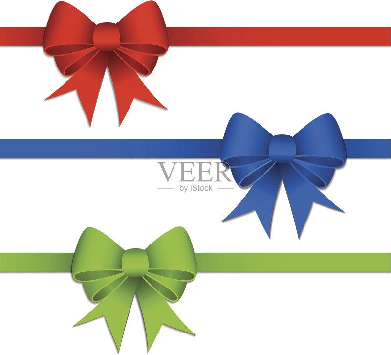 礼物 装饰 计算机制图 剪贴画 圣诞节 缎带 绿色 绘画插图 奖丝带 蓝色