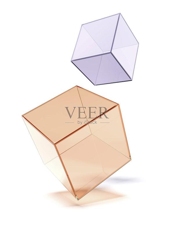 正方形 透过其它物体观看 无人 三维图形 折射 反射 整齐的 几何形状