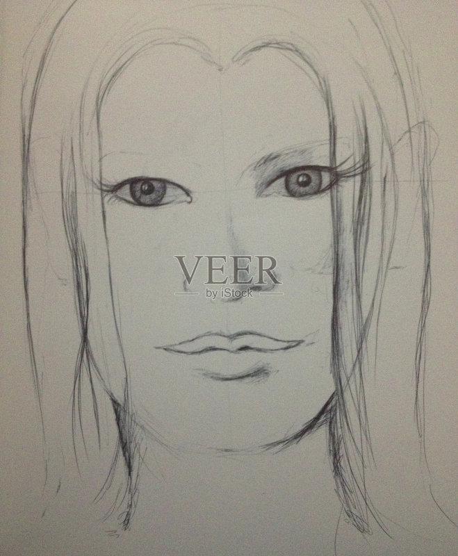 铅笔画 仅一个女人 人 女人 凌乱 正字符号 人的头部 仅女人 肮脏的 白色图片